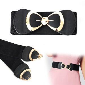 60mm Wide Women Elastic Black Waist Belt for Ladies Fashion Party Wear Accessory