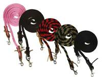 "Derby 5/8"" Poly Barrel Reins with Easy Off Snap Attachment for Horse Riding"