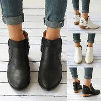 Womens Low Chunky Heel Ankle Boots Work Outdoor Booties Cusp Buckle Casual Shoes