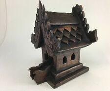 Buddha Collectible Thai Spirit House Teak Wooden Temple Handcraft Size 13 cm
