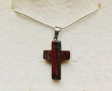 Stunning Mahogany Agate Cross Pendant On A 925 Silver Chain