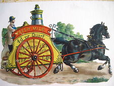 Great Vintage Die-Cut of a Horse Driven Milk Truck w/ Colors of Red & Yellow *