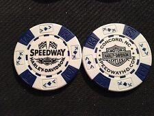 "Harley Golf Ball Marker Poker Chip (White & Blue) ""Speedway"" Concord NC NASCAR"