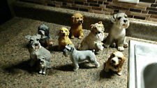Dog Puppy Figurines 8 Lot Collie Golden Retriver Mixed Breed Vintage Resin