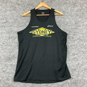 Asics Mens Tank Top Size L Large Black Sleeveless Sydney Running 10.08