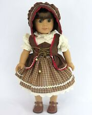 """Doll Clothes AG 18"""" Dress German Brown Plaid Hat Shoes Fits American Girl Dolls"""