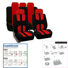 Car Seat Covers Set Breathable Auto Seat Protectors Red Sports For SUV Truck Van