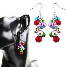 Silvertone Christmas X-Mas Jingle Bells Chandelier Earrings Coorful Gift New CY
