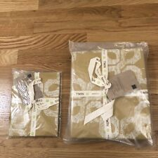 NWT West Elm Twin Duvet + Sham Yellow/Gold Organic Cotton CARVED CIRCLES