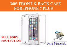 For iPhone 7 Plus 360° Full Protection Front+Back Slim TPU Clear Gel Cover Case