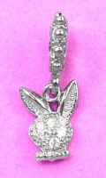 SOLID Sterling Silver Playboy Rabbit Bunny Charm BEAD w 6pcs Cz gem Fit Bracelet
