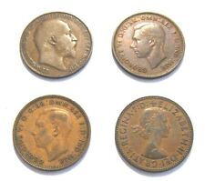 Lot of Four Great Britain Half Pennies - 1908, 1938, 1944 & 1958