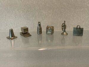 Monopoly 1997 Triopoly 6 Pewter Game Tokens Pieces