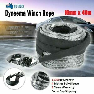 Winch Rope 10MM x 40M Dyneema SK75 Hook Synthetic Car Tow Recovery Cable