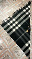 New Burberry Collette Cashmere Black Check Cape Authentic Women's