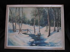 ANTIQUE OIL PAINTING SNOW LANDSCAPE MUSEUM EXHIBITED ARTIST JOSEPHINE GARRIAGAL