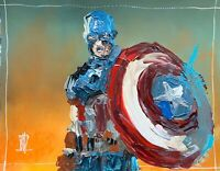 Original Abstract Captain America w Shield Palette Knife Painting Comic Wall Art