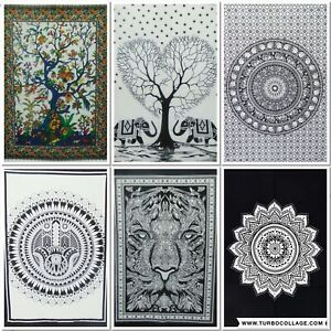 Indian Tapestry Mandala Black & White Ethnic Wall Hanging Bohemian Home Deco Art