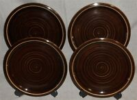 Set (4) Pottery Barn ARTISAN - BROWN PATTERN Salad Plates