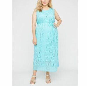 Catherines Plus Aqua Spring Meadows Lace Maxi Dress 5X, 34/36W