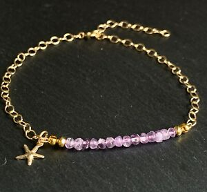 14k Gold Filled Anklet with Amethyst and Starfish Charm - Ankle Bracelet