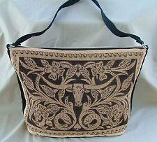 Purse Western Design Longhorn Canvas Leather Look Stencil Shoulder Strap Zipper