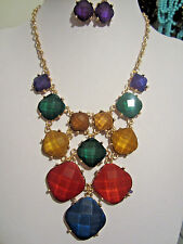 Multi Color Faceted Lucite Square Bead Gold Tone Base Necklace Earring Set