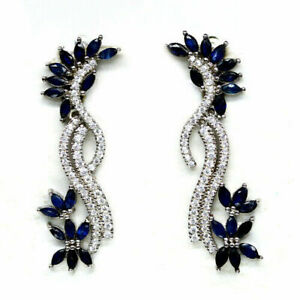 ELEGANT NATURAL RICH BLUE SAPPHIRE EARRINGS WITH WHITE CZ 925 STERLING SILVER