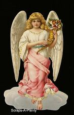 German Embossed Scrap Die Cut - Large Christmas / Easter Angel w/Toys     BK5170