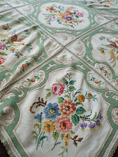 Gorgeous old/vintage hand embroidered tablecloth, flower and bird design