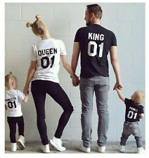 Hot Couple T-Shirt King & Queen Matching Set Sweet Family Love Clothes Tee Gift