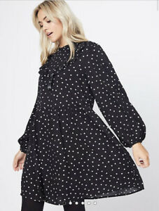 George Bnwt Black Polka Dot High Neck Frill Dress Size 14/16