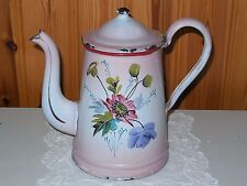 ANTIQUE VINTAGE FRENCH ENAMELED COFFEE POT -  FLOWERS signed B11