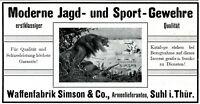 Jagd Gewehr Simson aus Suhl Reklame 1908 Safari Löwe Waffenfabrik Jäger Großwild