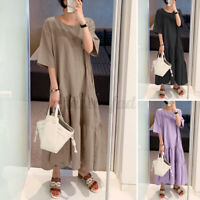 Women Tiered Layered A-Line Maxi Long Sundress Flare Kaftan Long Dress Plus Size