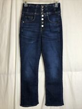 Veronica Beard Button Front High Waisted Straight Leg Jeans Size 26 / 2