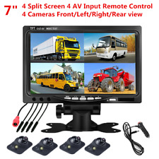 "7"" 4 Split Quad Video Display TFT LCD Car Rear View Monitor+4Pcs 170° HD Cameras"