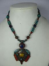 kunstvolles altes Collier Halskette Türkis Koralle Lapis  Handarbeit Tibet ~1970