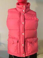J Crew Down Vest Puffer Pink w/Orange Lining Zip Up Snaps Size: M