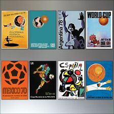 Football World Cup Posters from 1954 - 1982 vintage fridge magnets set of 8