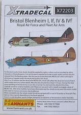 Xtradecal 1/72 X72203 Bristol Blenheim Mk I + IF + IV Decal set