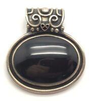 Heavy Vintage Oxidized Sterling Silver Oval Black Onyx Fancy Bail Chunky Pendant