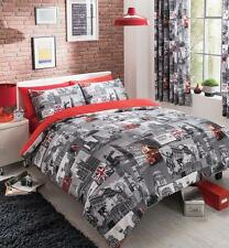 London City Grey Duvet Covers Reversible Bedding Sets / Curtains / Fitted Sheets