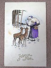Alte Ak Weihnachtsmann mit violettem Mantel und 2 Rehe gel.1924 v.Belgien nach D