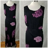 Vintage Floral Dress size 14 Large Grunge Black Purple Maxi Layered Tie Waist