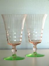 Cambridge Glass Stem 3085 Watermelon Footed Tumblers - Pink and Green - Set of 2