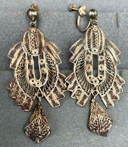 HUGE Vintage Sterling Silver Filigree Chandelier Dangle Earrings Screw-Back