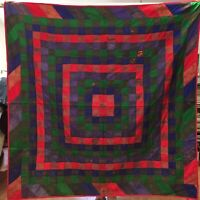 "Vintage Sudha 100% Silk Patchwork Kantha Quilt Blanket Throw India - 56"" x 54"""