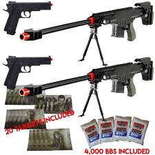 2 Pack Marksman Tactical Airsoft Sniper Rifle M83A1 Gun + Pistol + BBs + Targets