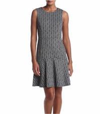 NINE WEST 18 Black & Silver Print Drop Waist Dress NWT $79